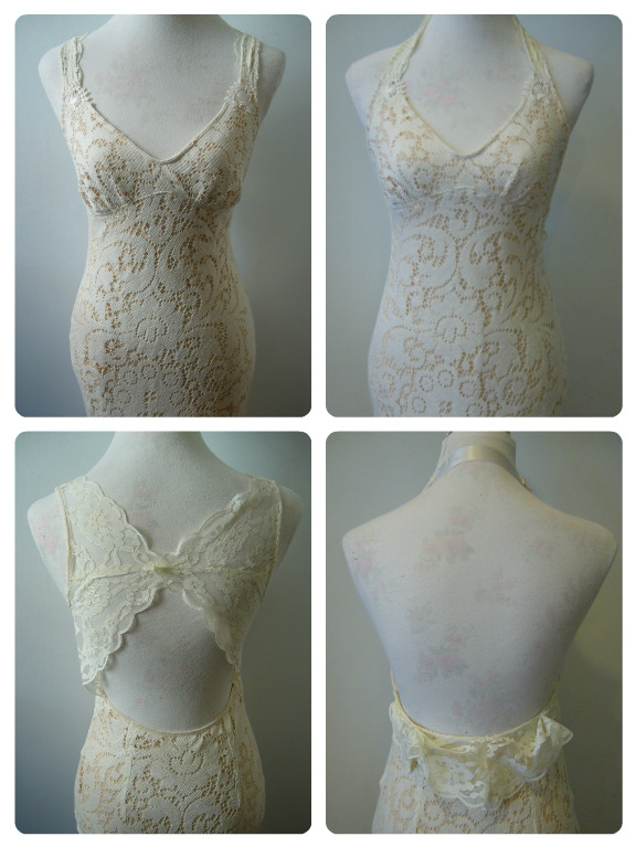 Splendid Stitches Vintage Lace Wedding Dress Back Redesign